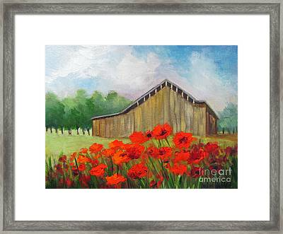 Tennessee Barn With Red Poppies Framed Print