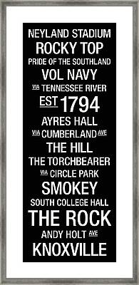 Tennessee College Town Wall Art Framed Print