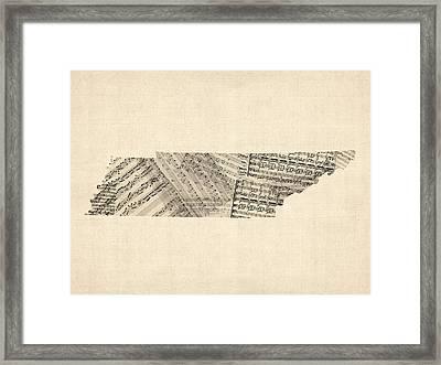 Tennessee Map Sheet Music Framed Print by Michael Tompsett