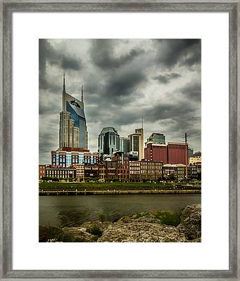 Tennessee - Nashville From Across The Cumberland River Framed Print
