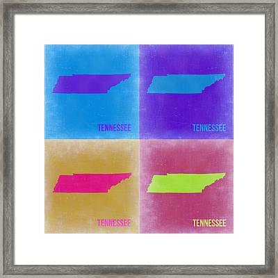 Tennessee Pop Art Map 2 Framed Print by Naxart Studio