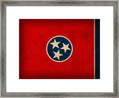 Tennessee State Flag Art On Worn Canvas Framed Print by Design Turnpike