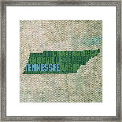 Tennessee Word Art State Map On Canvas Framed Print by Design Turnpike