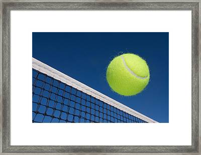 Tennis Ball And Net Framed Print