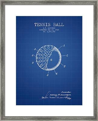 Tennis Ball Patent From 1918 - Blueprint Framed Print by Aged Pixel