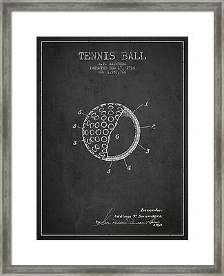Tennis Ball Patent From 1918 - Charcoal Framed Print