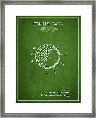Tennis Ball Patent From 1918 - Green Framed Print