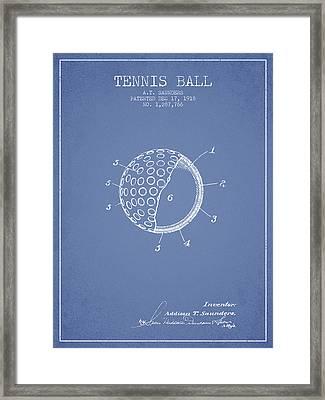 Tennis Ball Patent From 1918 - Light Blue Framed Print
