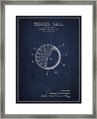 Tennis Ball Patent From 1918 - Navy Blue Framed Print by Aged Pixel