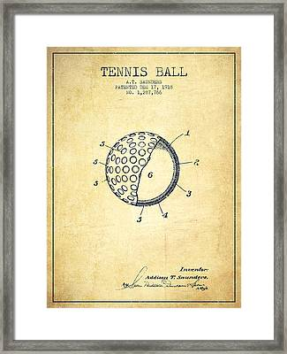Tennis Ball Patent From 1918 - Vintage Framed Print by Aged Pixel