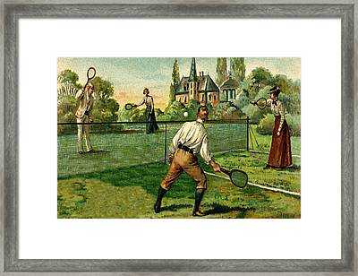 Tennis Doubles Match 1800's Victorian Estate Framed Print by Private Collection