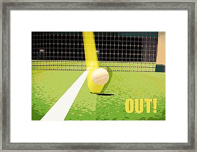 Tennis Hawkeye Out Framed Print by Natalie Kinnear