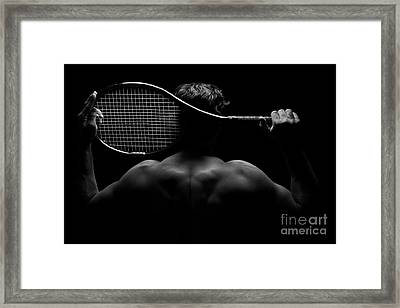 Tennis Player And His Racket Framed Print