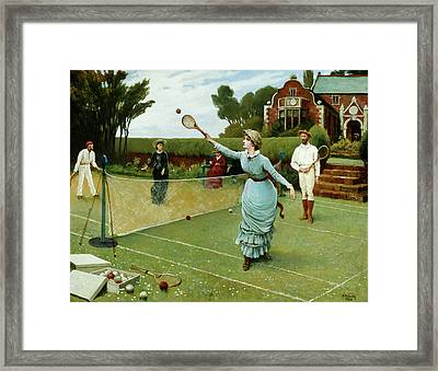 Tennis Players, 1885 Framed Print