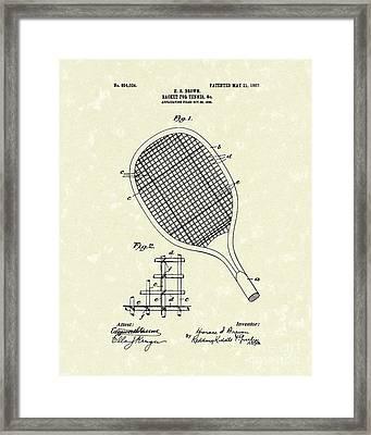 Tennis Racket 1907 Patent Art Framed Print by Prior Art Design