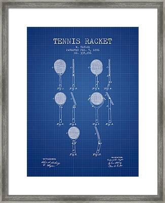 Tennis Racket Patent From 1886 - Blueprint Framed Print