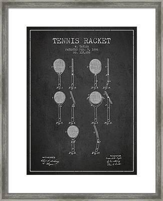 Tennis Racket Patent From 1886 - Charcoal Framed Print