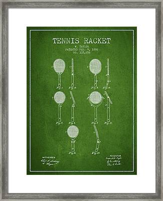 Tennis Racket Patent From 1886 - Green Framed Print