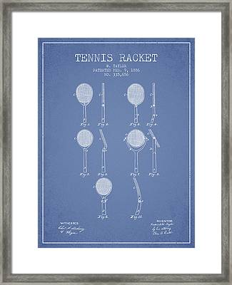 Tennis Racket Patent From 1886 - Light Blue Framed Print
