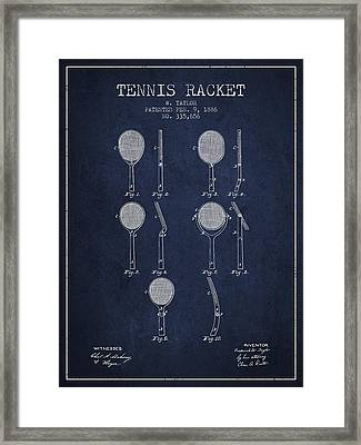 Tennis Racket Patent From 1886 - Navy Blue Framed Print