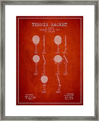 Tennis Racket Patent From 1886 - Red Framed Print by Aged Pixel