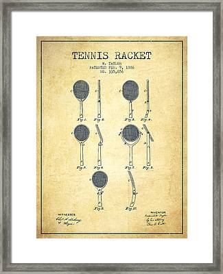 Tennis Racket Patent From 1886 - Vintage Framed Print