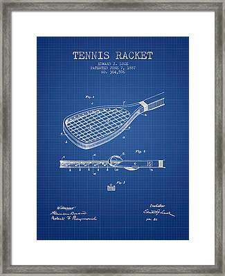 Tennis Racket Patent From 1887 - Blueprint Framed Print