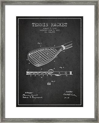 Tennis Racket Patent From 1887 - Charcoal Framed Print