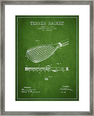 Tennis Racket Patent From 1887 - Green Framed Print
