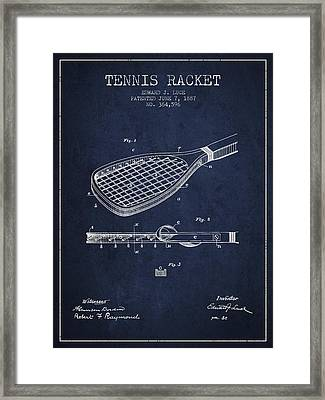 Tennis Racket Patent From 1887 - Navy Blue Framed Print