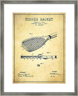 Tennis Racket Patent From 1887 - Vintage Framed Print