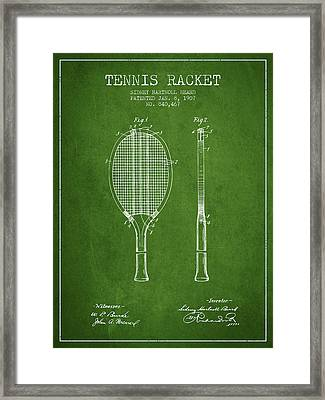 Tennis Racket Patent From 1907 - Green Framed Print by Aged Pixel