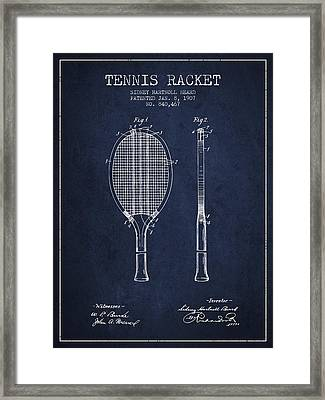 Tennis Racket Patent From 1907 - Navy Blue Framed Print by Aged Pixel