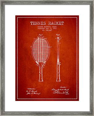 Tennis Racket Patent From 1907 - Red Framed Print