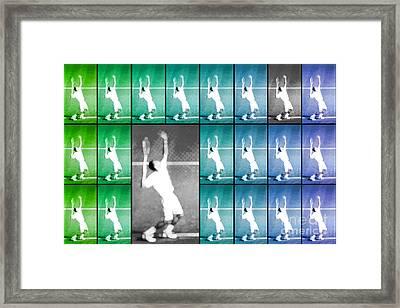 Tennis Serve Mosaic Abstract Framed Print
