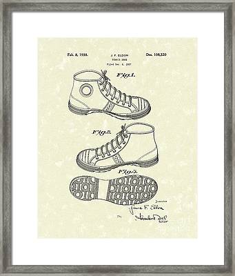 Tennis Shoe 1938 Patent Art Framed Print by Prior Art Design