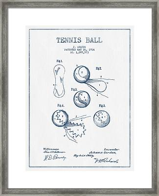 Tennnis Ball Patent Drawing From 1914  -  Blue Ink Framed Print by Aged Pixel