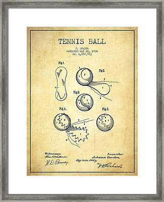 Tennnis Ball Patent Drawing From 1914 - Vintage Framed Print by Aged Pixel