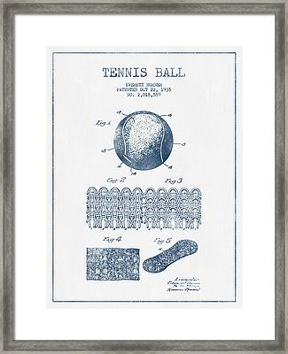 Tennnis Ball Patent Drawing From 1935  -  Blue Ink Framed Print by Aged Pixel