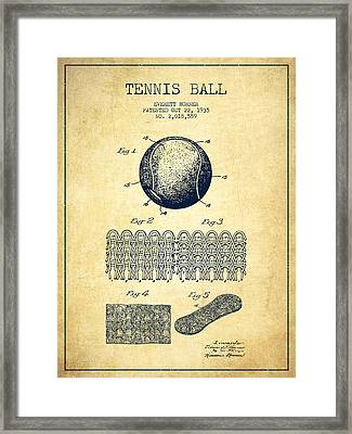 Tennnis Ball Patent Drawing From 1935 - Vintage Framed Print