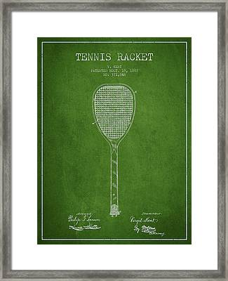 Tennnis Racket Patent Drawing From 1887 Framed Print