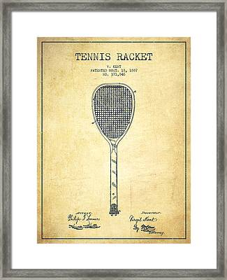 Tennnis Racket Patent Drawing From 1887 - Vintage Framed Print