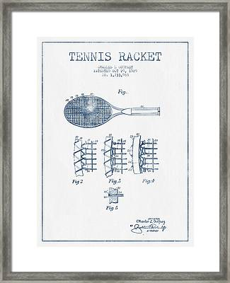 Tennnis Racket Patent Drawing From 1929  -  Blue Ink Framed Print by Aged Pixel