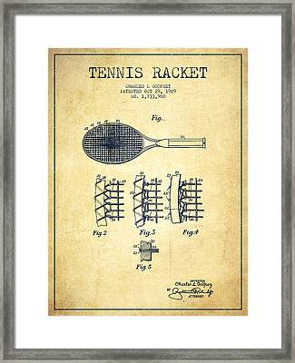 Tennnis Racket Patent Drawing From 1929 - Vintage Framed Print