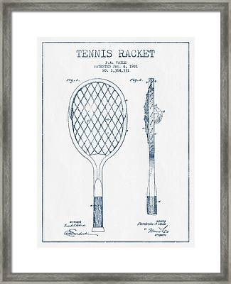 Tennnis Racketl Patent Drawing From 1921 -  Blue Ink Framed Print