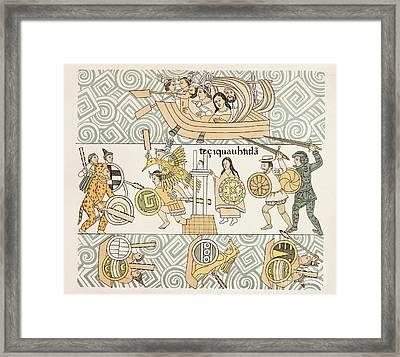 Tenochtitlan Battle, Lienzo De Tlaxcala Framed Print