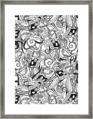 Tentacles Black White Framed Print by Sharon Turner