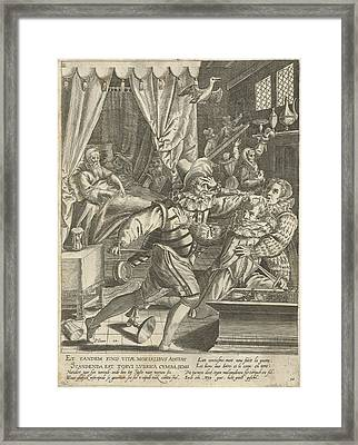 Tenth Life Phase Of Hundred Years With Dying Man And Fight Framed Print