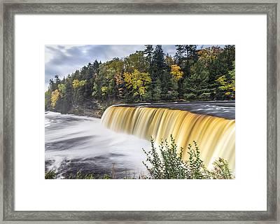 Tahquamenon Falls In Autumn  Framed Print by John McGraw
