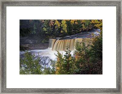 Tahquamenon Falls In Upper Peninsula Of Michigan Framed Print by John McGraw